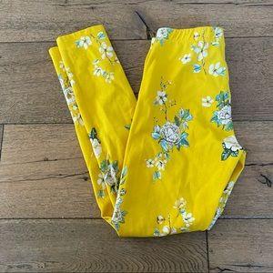 ZARA kids yellow floral NWOT legging jegging 13/14